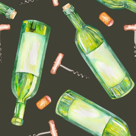 gargle: A seamless pattern with the wine watercolor hand-drawn elements: wine bottles, wine corks and a corkscrew. Painted on a dark black background.