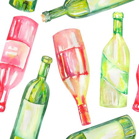 gargle: A seamless pattern with the hand-drawn wine bottles. Painted in a watercolor on a white background.