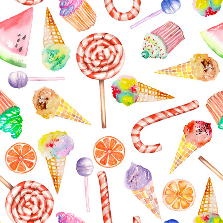 A seamless sweet pattern with the lollipop, candy cane, ice cream, muffins and other. Painted in a watercolor hand-drawn on a white background