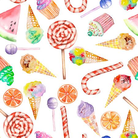 Lolipop, şeker kamışı, dondurma, kekler ve diğerleriyle kesintisiz bir tatlı desen. Beyaz bir zeminde elle çizilmiş bir suluboya boyalı