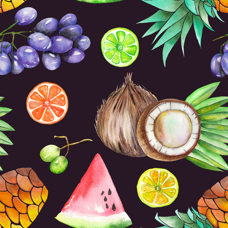 fine print: A seamless fruit pattern with the watercolor hand-drawn fruits: grapes, pineapple, coconut, lemon, lime, watermelon, citrus and other. Painted on a black dark background.