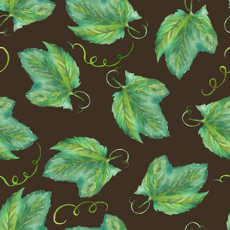 grape leaves: A seamless pattern with the hand-drawn grape leaves