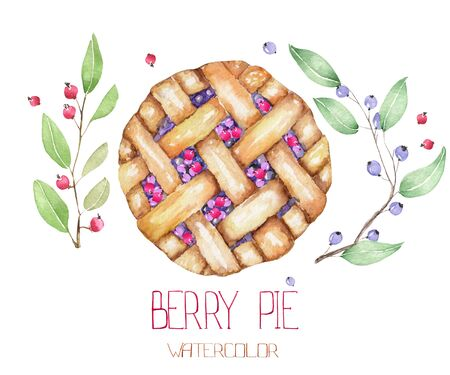 blueberry pie: An image with the isolated watercolor berry pie and branches of blueberry
