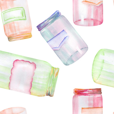 cupping: A seamless pattern with the glass jars with stickers.