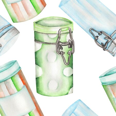 A seamless pattern with the isolated cans and glass jars, painted hand-drawn in a watercolor on a white background.