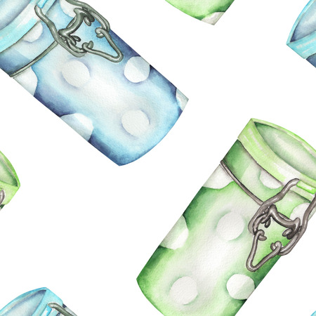 A seamless pattern with the isolated green and blue cans, hand-drawn in a watercolor on a white background.