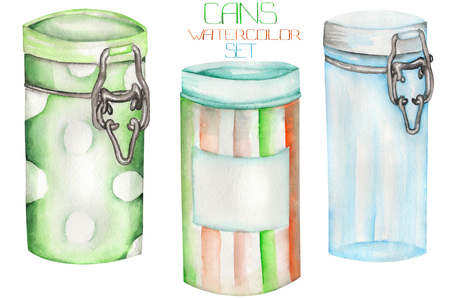cupping glass cupping: An illustration with the isolated cans and glass jars