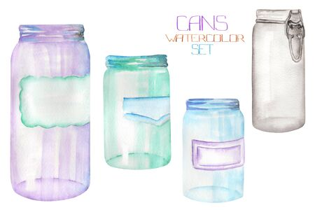 An illustration with the isolated glass jars.