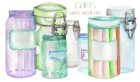 caretaking: An illustration with the isolated cans and glass jars
