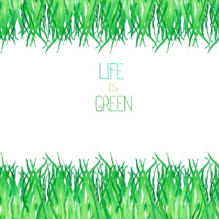 green fields: A seamless template of a postcard with the green grass, painted hand-drawn in a watercolor on a white background, place for a text