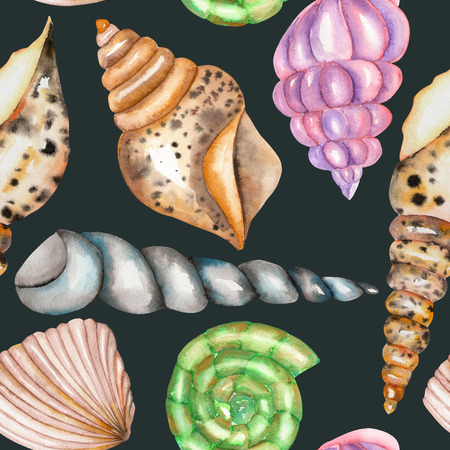 cochlea: A seamless pattern with the isolated shells, painted in a watercolor on a dark blue background Stock Photo