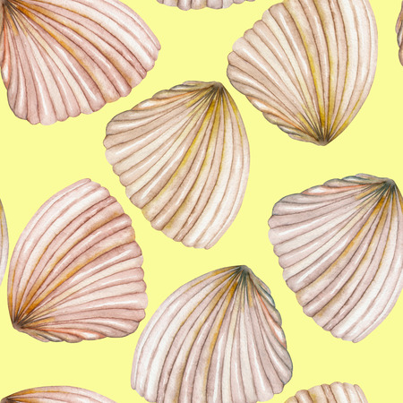 nettle: A seamless pattern with the isolated shells, painted in a watercolor on a yellow background