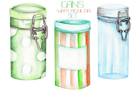 An illustration with the cans and glass jars