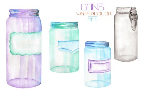 An illustration with the isolated glass jars Stock Photo