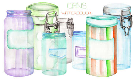 An illustration with the isolated cans and glass jars