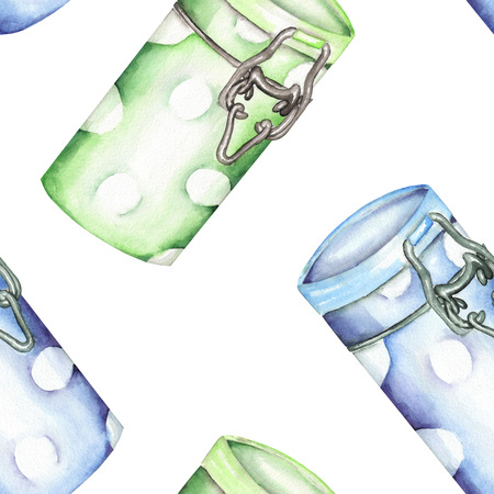 cupping: A seamless pattern with the isolated green and blue cans