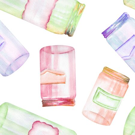 A seamless pattern with the glass jars with stickers Stock Photo
