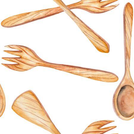 Un modèle sans couture avec les ustensiles de cuisine en bois isolé: omoplate, cuillère, fourchette