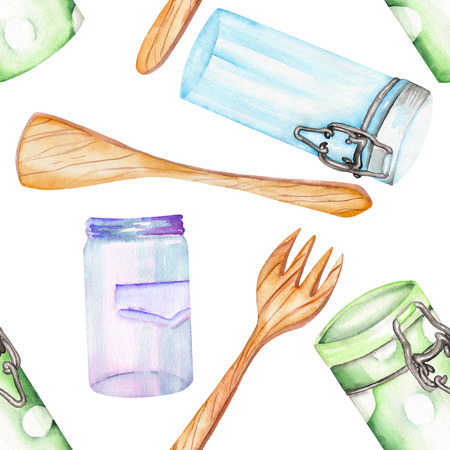 An illustration with the isolated wooden kitchenware and cans