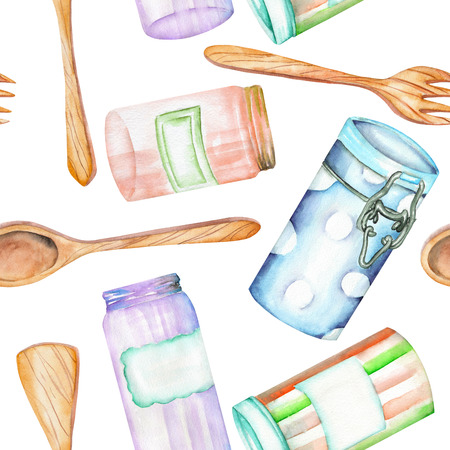 skimmer: An illustration with the isolated wooden kitchenware and cans