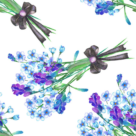florescence: Seamless floral pattern with the bouquets of blue forget-me-not flowers (Myosotis) and lavender flowers, decorated by bow, painted in a watercolor on a white background