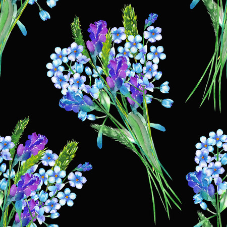 forget me not: Seamless floral pattern with the bouquets of blue forget-me-not flowers (Myosotis) and lavender flowers, painted in a watercolor on a dark background