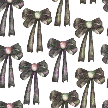 gemstone background: A seamless pattern with a dark bows decorated by jewel (gemstone), painted in colored pencils on a white background