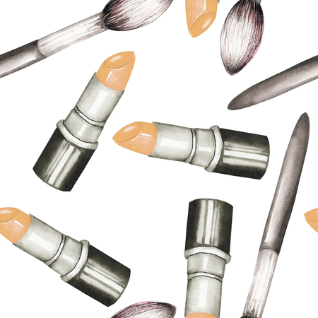 maquillage: A seamless pattern with the lipstick and makeup brushes
