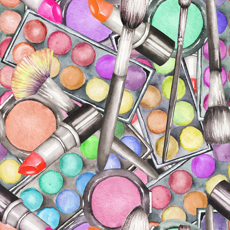 eyeshadow: A seamless pattern with the makeup tools: blusher, eyeshadow, lipstick and makeup brushes. Stock Photo