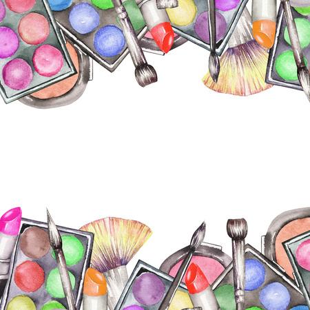 化粧道具とフレームの枠線: ほお紅、アイシャドウ、口紅、化粧ブラシ。