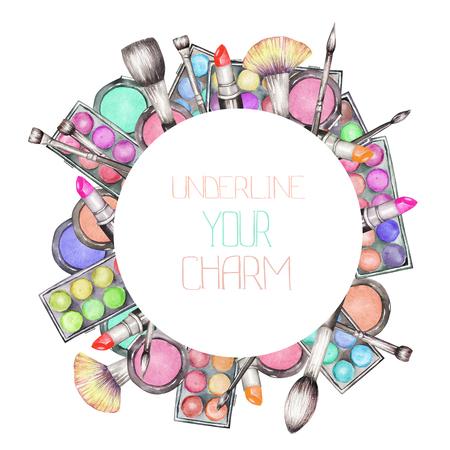블러셔, 아이 섀도우, 립스틱, 메이크업 브러쉬 : 화장 도구와 원 프레임. 모든 요소는 흰색 배경에 수채화 손으로 그린 하였다.