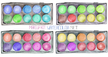 maquillage: A set with the isolated makeup kits with the eyeshadow palettes, painted in a watercolor on a white background.