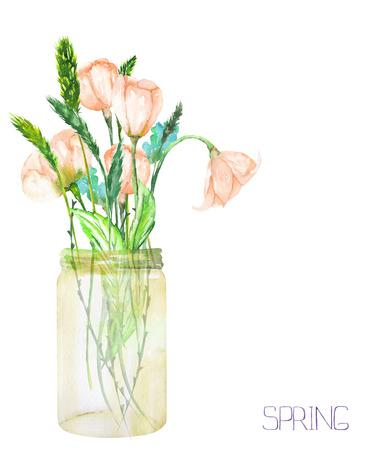 白い背景に水彩で描かれたイメージ、ガラス瓶の中の野草 (柔らかいピンク春花と小穂) の花束のイラスト