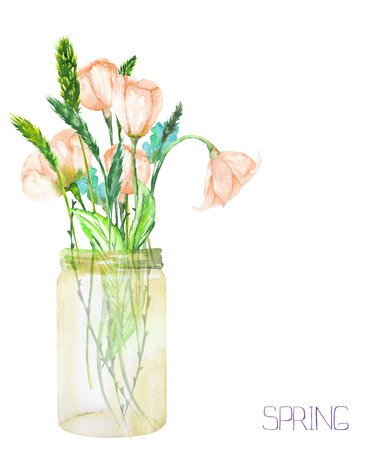 An image, illustration of a bouquet of the wildflowers (tender pink spring flowers and spikelets) in a glass jar, painted in a watercolor on a white background Stockfoto
