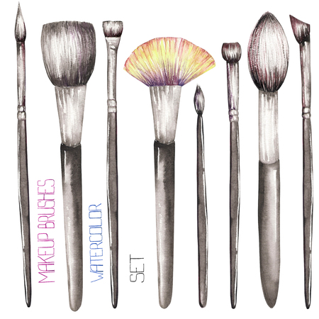 maquillage: A set with the makeup brushes, all elements were hand-drawn in a watercolor on a white background. Stock Photo