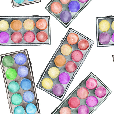 pomade: A seamless pattern with the watercolor makeup eyeshadow palettes. Stock Photo
