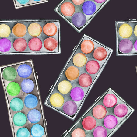 A seamless pattern with the watercolor makeup eyeshadow palettes. Stock Photo