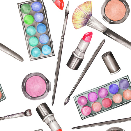 eyeshadow: A seamless pattern with the watercolor makeup tools: blusher, eyeshadow, lipstick and makeup brushes.
