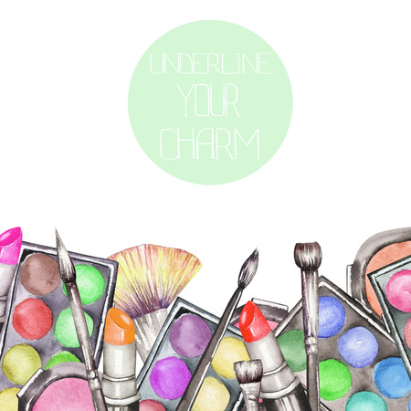 A frame border with the watercolor makeup tools: blusher, eyeshadow, lipstick and makeup brushes