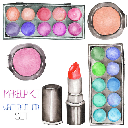 A set with the watercolor makeup tools: blusher, eyeshadow, lipstick Stock Photo
