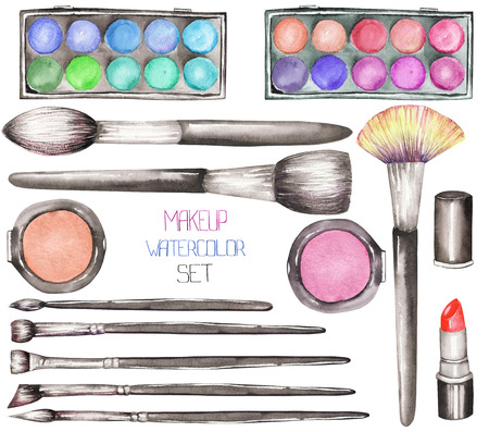 maquillage: A set with the watercolor makeup tools: blusher, eyeshadow, lipstick and makeup brushes Stock Photo