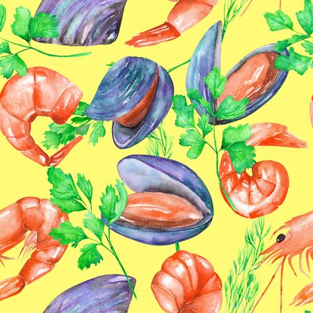 greenery: A seamless pattern with the isolated watercolor shrimps, mussels and greenery, hand-drawn on a yellow background