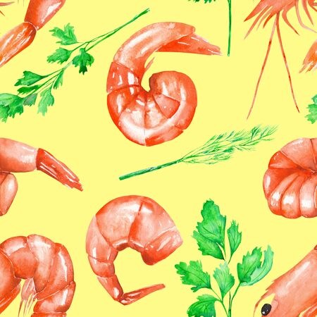 cilantro: A seamless pattern with the isolated watercolor shrimps and greenery, hand-drawn on a yellow background