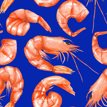 electric blue: A seamless pattern with the isolated watercolor shrimps, hand-drawn on a electric blue background