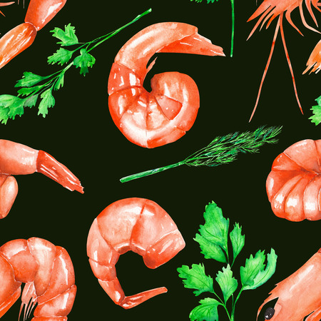 greenery: A seamless pattern with the isolated watercolor shrimps and greenery, hand-drawn on a black background Stock Photo
