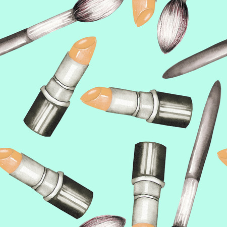 makeup brushes: A seamless pattern with the watercolor lipstick and makeup brushes.