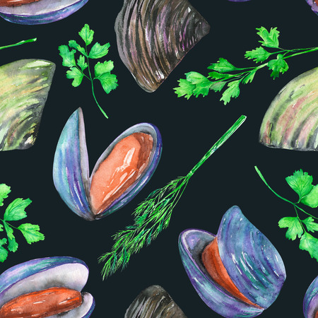greenery: A seamless pattern with the isolated watercolor mussels and greenery, hand-drawn on a dark background