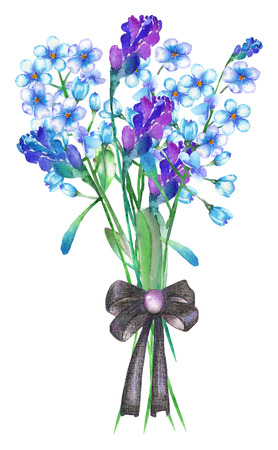 florescence: An illustration with an isolated bouquet of the beautiful watercolor blue forget-me-not flowers (Myosotis), lavender flowers and spikelets, decorated by a bow, on a white background