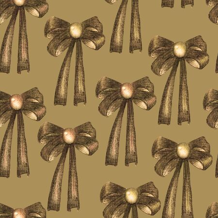 knick: A seamless pattern with a dark bows decorated by jewel (gemstone), painted in colored pencils in sepia color on a sepia background