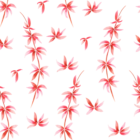 tender: A seamless pattern with the watercolor red branches, hand-drawn on a white background, wedding, tender decoration